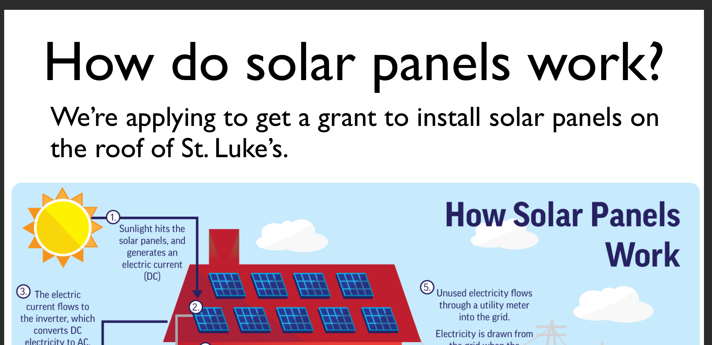 We are applying for a grant so that we can install solar panels.